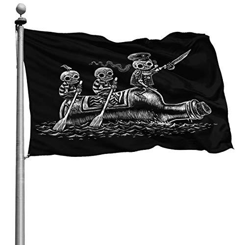 Divertidos esqueletos de calavera, viaje marítimo, pirata, marineros, bandera, 4x6 pies, pancarta decorativa al aire libre, bandera estándar colgante exterior