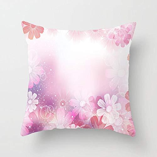 Hipster Pink Floal Funda de almohada moderna y simple Funda de cojines para sofá Funda de cojines decorativos de flores de moda nórdica 45 × 45 cm-13