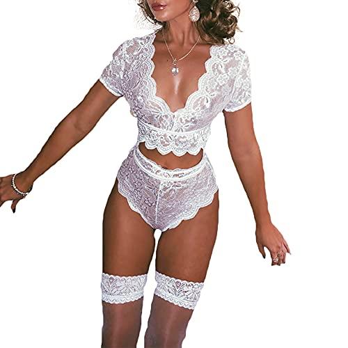 CJF - Set di lingerie sexy con pizzo per ciglia, sexy e sexy tentazione, con reggiseno e collant, non include calze, taglia XXXL, colore: Bianco