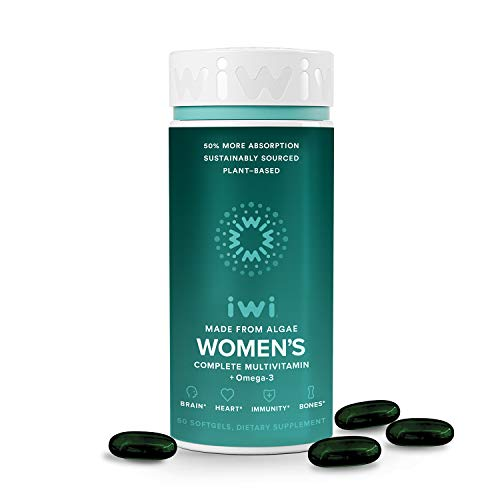 iwi Women's Multivitamin Omega-3 | Vegan | Made from Algae | Clinically Shown to Provide 50% More Absorption Than Fish, Krill & Other Algae Oils Supports Brain, Heart, Immunity & Bones| 30 Day Supply