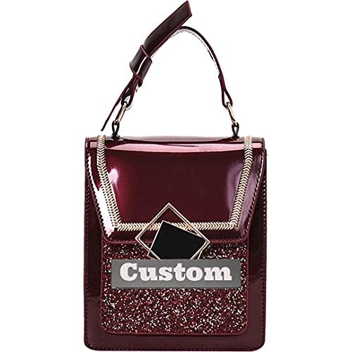 Personalizzato Nome Borse Nero Mini Crossbody Bag In Pelle Piccolo Rfid Borsa per le Donne Portafoglio in Pelle (Colore: Rosso, Taglia unica)