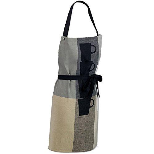 kela Tablier Tabea avec Motif des Tasses 80x67cm en Coton, Gris/Taupe, 80x67x2 cm