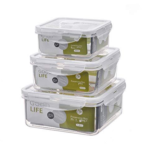 Contenedor de almacenamiento de alimentos Refrigerador fresco de mantenimiento de la caja cuadrada de plástico de la caja sellada del hogar refrigerador de almacenamiento de alimentos Bento Box Microo