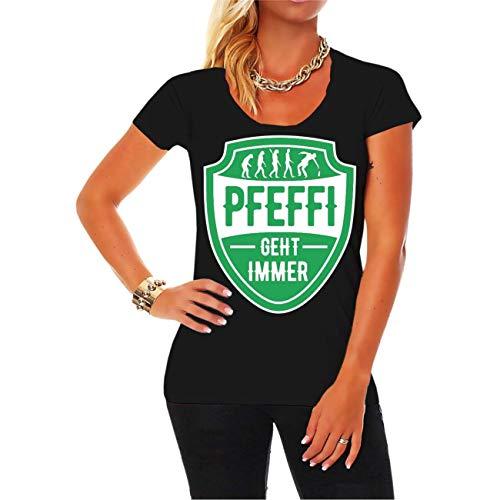 Frauen und Damen T-Shirt Alkohol Sprüche Pfefferminz geht Immer Größe XS - 5XL