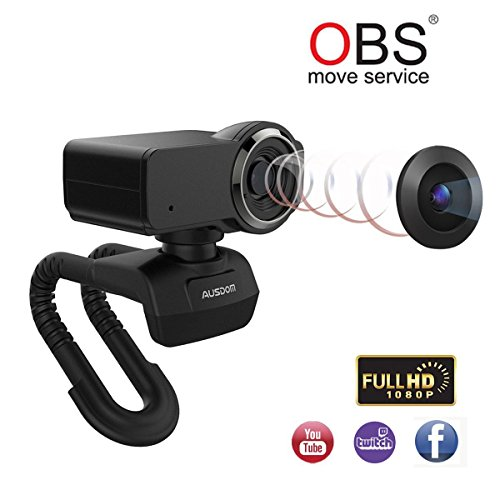 Ausdom Full HD 1080p Webcam, OBS Live Streaming Webcam, Computer Camera with Microphone for Skype Xsplit Twitch YouTube Facebook, Compatible for MAC OS Windows 10/8/7