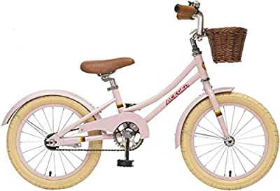 ACEGER Girls Bike with Basket for Kids 4 to 6 Years Old, 16 inch with Training Wheels and Kickstand(Pink, 16 inch)