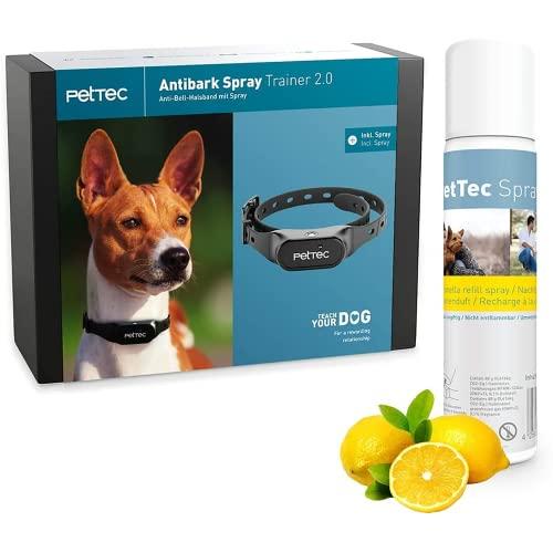 PetTec Collar Antiladridos Perros con Señal Pulverizada automática, Incluye Aerosol con Fragancia de Limón, Adiestramiento para Acabar con los Ladridos de Perros Grandes y pequeños