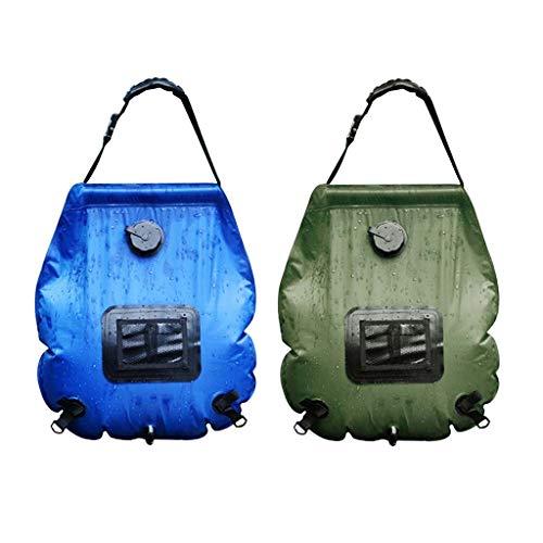 Stoge Große Kapazitäts-Badewasser-Bag Camping Dusche Zubehör 20L im Freien Solar-Warmwasser-Set Dusche-Beutel-bewegliche Dusche Tasche Camping Dusche Mu (Color : Green)