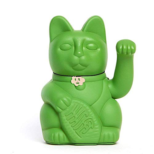 Gato de la Suerte chino. Lucky Cat. Maneki Neko. COLOR VERDE HULK 10x6x15cm
