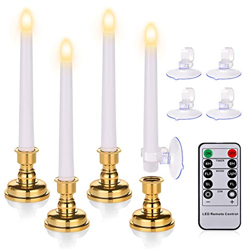 7.9 Inch Flameless Taper Candles with Timers, Battery Operated LED Window Candles with Remote, Flickering Candles with Removable candlesticks and Suction Cups for Christmas, Wedding Decorations