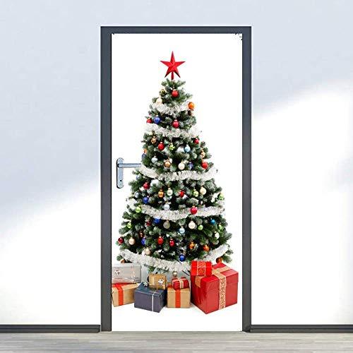 Falehgf 3D Vorhang Tür Wandbilder Herausnehmbare PVC Wasserdicht Wallpaper Selbstklebende Wandbilder Für Festival Schlafzimmer Home Tür Aufkleber Weihnachtsbaum 90X200Cm,90X200CM
