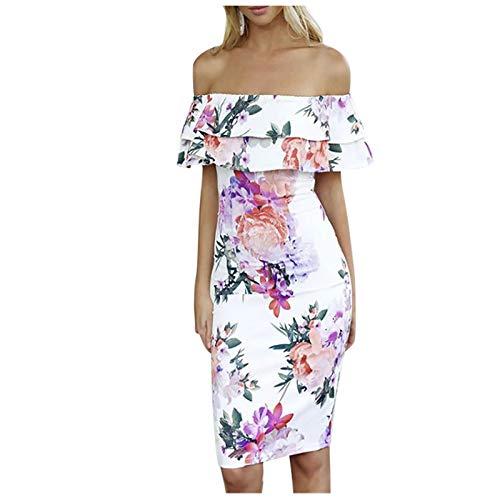 Kobay-Damen Bequem und Atmungsaktiv Damenmode Sexy Blumendruck One Shoulder Dress Geschenke für Frauen