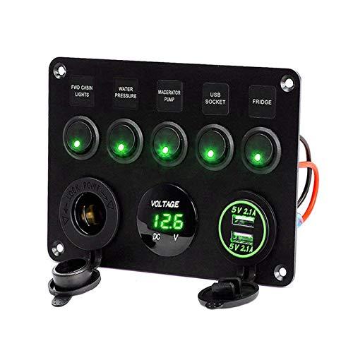 YYOMXXOM 5 pandillas LED Coche Rocker Interruptor Panel 12V Power Outlet Dual USB Cargador Puerto Socket 12V Fit para Coche Marine Boat Toggle Switch (Color : Green)