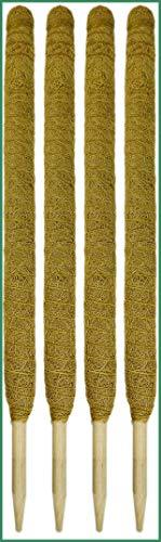Novatool 4X Kokos Rankstab 110 cm I Ø 45mm I verlängerbar I natürlicher Kokosfaser I Pflanzenstütze Rankhilfe für Zimmerpflanzen blumentopf Stange