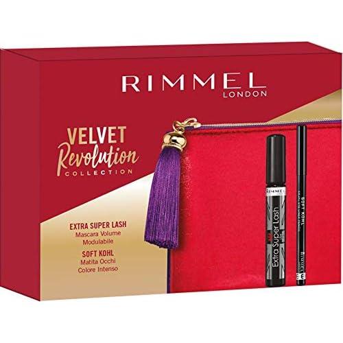 Rimmel London Confezione Regalo Velvet Revolution Collection, Pochette con Mascara Volume Modulabile Extra Super Lash e Matita Occhi Soft Kohl