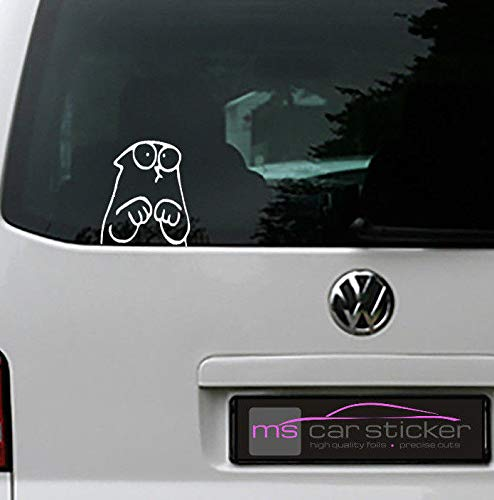 MS Car Sticker Lustige Katze für zb. Heckscheibe,Seitenscheibe usw. für innen(gespiegelt) oder aussenverklebung erhältlich Version 2 (1weiss glänzend, Innenverklebung(gespiegelt))