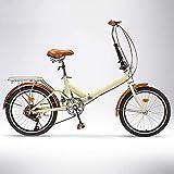 Bicicleta Plegable con Llanta de 20 Pulgadas para Bicicletas de Crucero Bicicletas Urbanas de 6 Velocidades Compacta Liviana Trabajador de Oficina Estudiantes Cercanías Beige