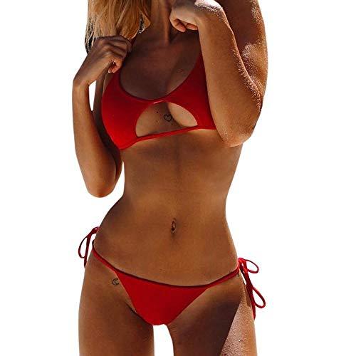 VJGOAL Conjunto de Bikini para Mujeres Sexy Push-up Vendaje Hueco Conjunto de Dos Piezas Dividir Traje de baño Verano Casual Ropa de baño de Playa sólida(Medium,Rojo)