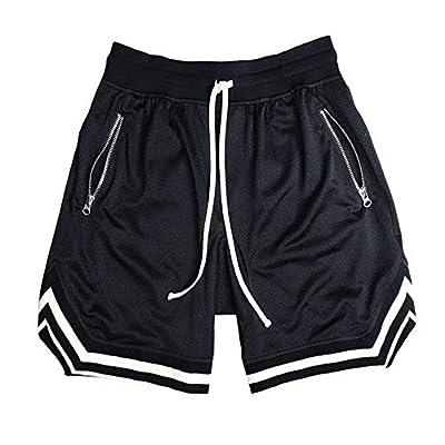 Rela Bota Men's Workout Training Shorts Active Running Athletic Sweatpants Joggers with Zipper Pocket Black M