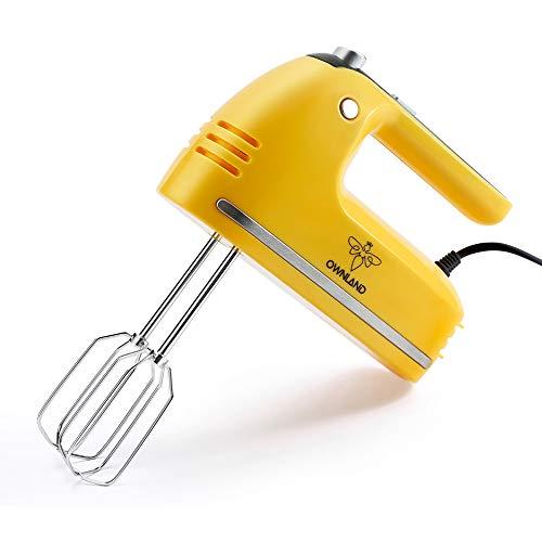 TBYGG Elektrische handmixer, staafmixer, elektrische melkopschuimer met dubbele garde, 200 watt, laag gewicht, 2 roergbezem en 2 kneedhaken, handig gebruik, voor koffie, latte, cappuccino