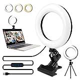 Videokonferenz Licht, 6.2' Videokonferenz-Beleuchtungskit mit Stativ & Clip für Fernarbeit, Selbstübertragung, Live-Streaming, Zoom-Anrufe, Beleuchtung...