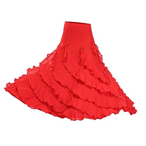Große Schaukel Damen Maxirock Tanzrock Tanzkleider Ballsaal Tanzen Lange Rock Flamenco Kleid Boho Hippie Walzer Tango Latein Kostüm - Stil 2 rot, wie beschrieben