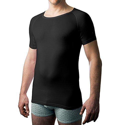 Drywear T-Shirt Rundhalsausschnitt gegen achselschweiss für Männer (Large, Schwarz)
