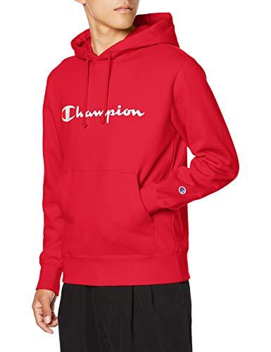 [チャンピオン] パーカー トレーナー 裏毛 長袖 綿100% 定番 スクリプトロゴプリントフーデッドスウェットシャツ C3-Q102 メンズ レッド M