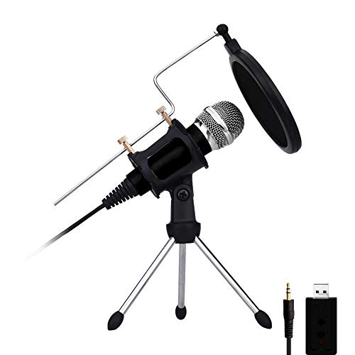 USB PC microfoon voor computer en telefoon, plug & play mobiele telefoon professionele condensatormicrofoon voor recording, gaming, podcasting, online chatten zoals Facebook, MSN, Skype, met geluidskaart
