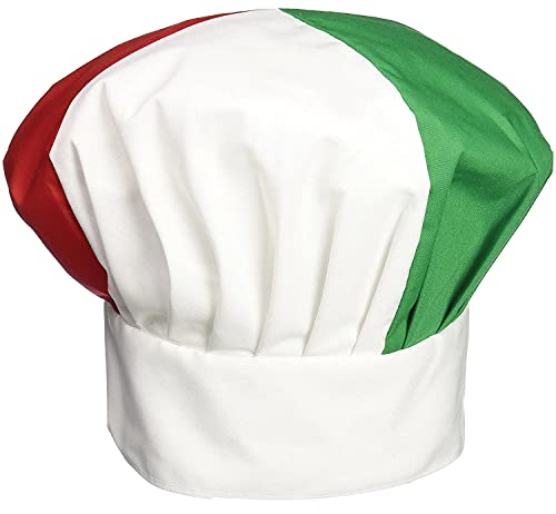 Beistle Red, White And Green Oversized Cotton Novelty Fabric Chef's Hat With Velcro – Italian Party Photo Booth Props Supplies, One Size