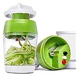 cortadora de verduras 5 IN1 Handheld Spiralizer Vegetal Slicer Cortador de espiral ajustable con contenedor Zucchini Noodle Spaghetti Maker Spiral Spiral Slicer cortadora de verduras electrico