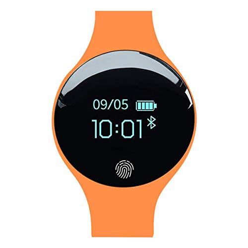 Smart Bluetooth Watch, Estudiante de Secundaria, niña, Adolescente, vibración, Despertador, Pulsera, Bluetooth, Paso para niños - Desbloqueo con Huella Digital-Orange