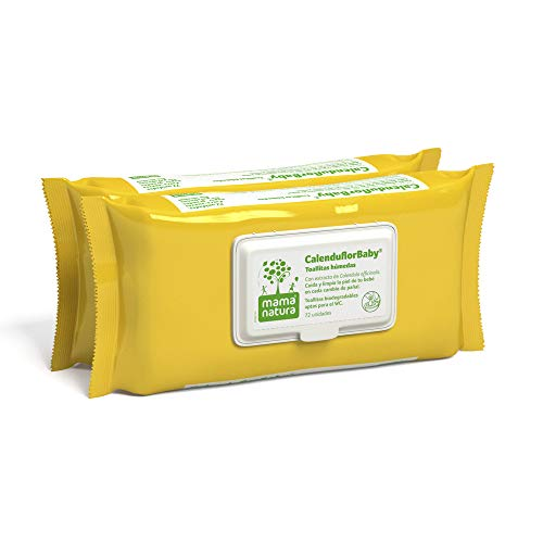Mama Natura Calenduflorbaby, Toallitas Húmedas Bebé, Biodegradables Con Extracto Caléndula Officinalis, 2 Packs X 72 Uds. - Aptas Para El Wc, Amarillo, 144 Unidad