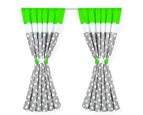 Amilian® Kinderzimmer Vorhänge 155 x 155 cm Set mit Schlaufen Baby Gardinen Vorhang V03