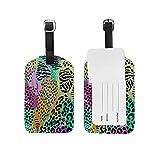 Etiqueta de equipaje Etiqueta de identificación de viaje de cuero para maleta de equipaje Giraffe Animal Print