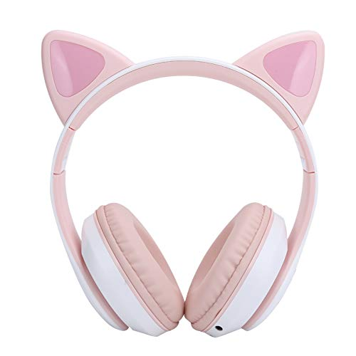 PUSOKEI Bluetooth 5.0 Headphones Cat Ear LED Light Wireless Cute Headsets for Young People/Kids/Laptop/PC/TV, Switch Songs(Pink)