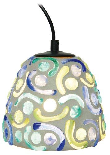 Naeve Leuchten Mosaik-Pendelleuchte/d: 16 cm/h: 19 cm/Glas/grün/blau 7000805