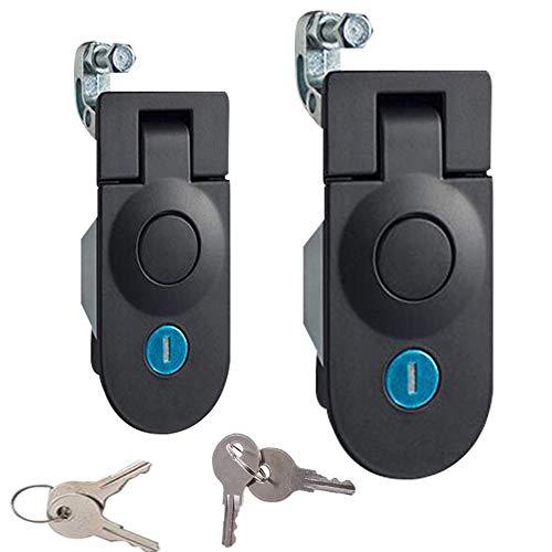 2Piece Powder Coated Zinc Alloy Sealed Adjustable Lever Hand Operated Compression Latch, Key Locking, 4.3x2.0inch,Black