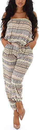 Jela London Damen Bandeau-Overall trägerlos Sommer Onesie Jumpsuit luftig leicht Streifenmuster, Gelb
