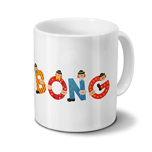 printplanet Tasse mit Namen Bong - Motiv Holzbuchstaben - Namenstasse, Kaffeebecher, Mug, Becher, Kaffeetasse - Farbe Weiß