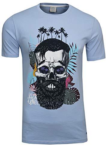 Jack & Jones – Maglietta da uomo Festival, collo rotondo, con motivo a teschio hipster con barba e fiori Blau (Cashmere Blue Fit:slim) S