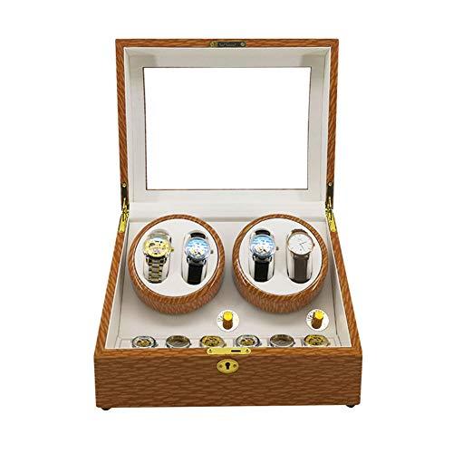AYYEBO Watch Winder, Automatico Watch Winder, 4 + 6 Caja Giratoria de Relojes 5 Modos Hecho a Mano Regalo de Lujo - for 10 Relojes Cajas de Almacenamiento (Color : B)