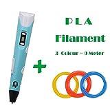 3D pluma de la impresión 3D pluma con pantalla LCD y modelo del Doodle hacer manualidades Dibujo con PLA filamentos Set y regalo ZXLLNEUR ( Color : Blue 9M filament , Consumable Type : EU Adapter )