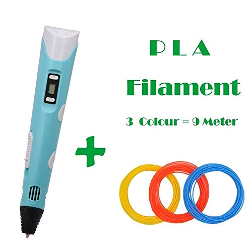 ZHQHYQHHX LCD-scherm DIY 3D Printing Pen Arts 3D Pennen For Kids Hulpmiddelen for tekenen Hoge kwaliteit ABS PLA Plastic 3D Printer ZHQEUR (Color : Blue 9M Filament, Size : Free)