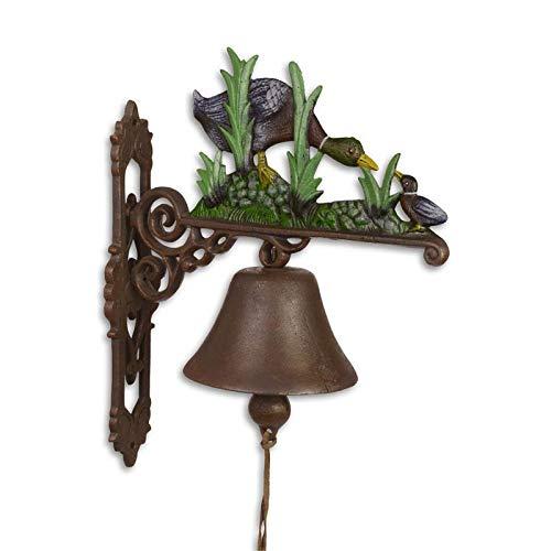 Moritz gietijzeren wandklok eend kuiken familie klok deurbel 37 cm hoogte huisklok antieke stijl bruin bel versierd