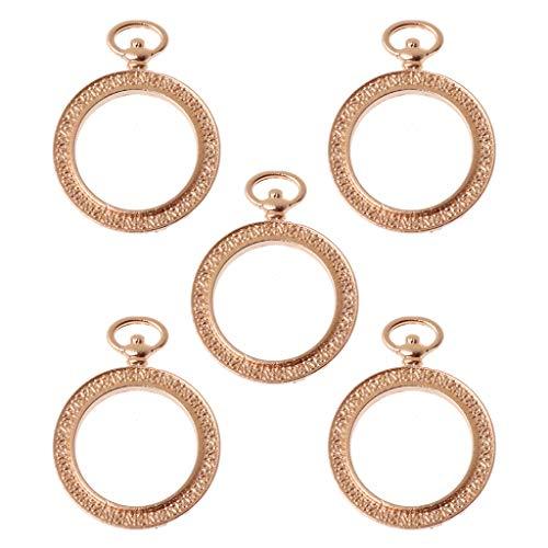 Boji Marco colgante bisel, 5 unidades, reloj de bolsillo redondo, marco blanco, colgante de bisel, ajuste de resina, fabricación de joyas