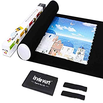 Lavievert Jigsaw Puzzle Roll Mat Puzzle Storage Saver Black Felt Mat Long Box Package No Folded Creases Jigroll Up to 1,500 Pieces - Comes with A Drawstring Opening Design Bag
