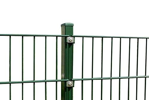 Doppelstab Zaun Höhe 83 cm Länge 10 - 50 m - inkl. Pfosten Gittermatten Zaun-Set Doppelstabmattenzaun Gartenzaun (20 m, Grün RAL 6005)