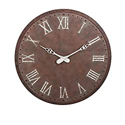 "CC Home Furnishings 45"" Weathered Brown and White Rustic Style Decorative Oversized Wall Clock"