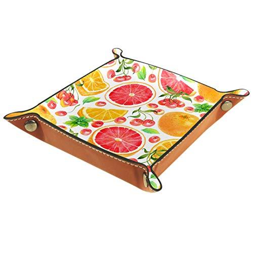 Caja de almacenamiento pequeña, bandeja de valet para hombre,Cereza blanca naranja de verano ,Organizador de cuero para llaves de caja de monedas